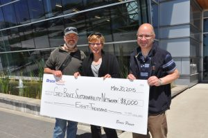 Bruce Power recently donated $8,000 to the Grey Bruce Sustainability Network for its WATERworks program. Accepting the cheque is Barry Randall, left, General Manager, Grey Bruce Sustainability Network, Debbie Davidson, with the Four County Labour Market Planning Board's Skills Opportunity Showcase Trailer, and Bruce Davidson, Chair, Grey Bruce Sustainability Network. Learn more about WATERworks at http://gbsusnet.com/projects/careerworks/waterworks/.