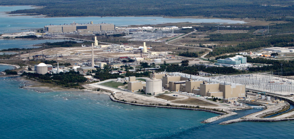 Aerial photo of the Bruce Power site.