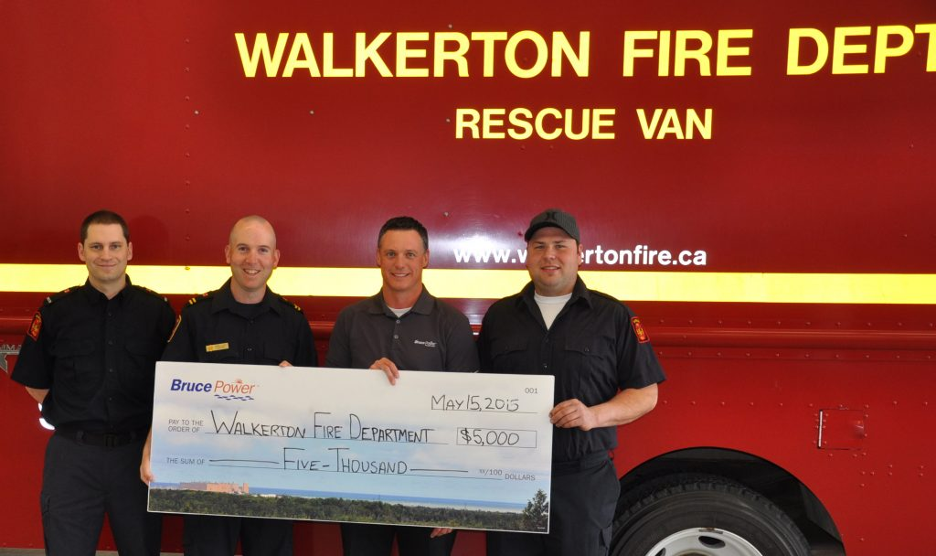 Bruce Power donated $5,000 to the Walkerton Firefighters Association, which is raising money for an off-road utility vehicle. The vehicle will enable access to emergency situations that occur in rural or off-road areas for the department. It will service the Municipality of Brockton, and will also be available to respond to neighboring municipalities via the Bruce County Fire Mutual Aid Program. Pictured is Chris Wilson, left, Firefighter, Mike Loos, Acting Captain, Dwight Irwin, Bruce Power Community Investment and Sponsorship Lead, and Dustin Stroeder, Firefighter.